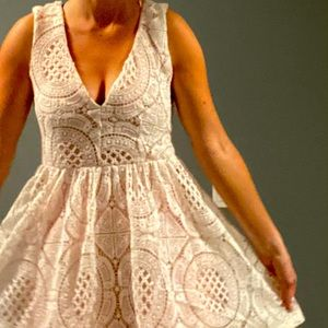 """""""Ellyette"""" Lacey white and pink summer dress"""